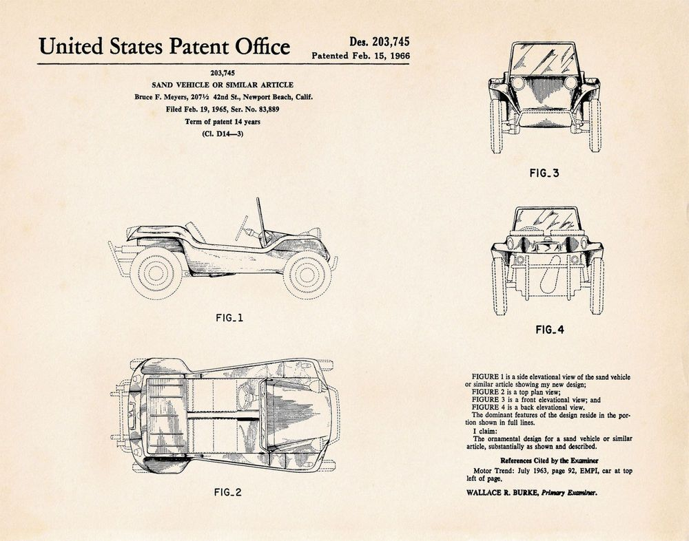 1966 Meyers Manx Dune Buggy Auto Mechanic Gift US Patent Print Bruce F Meyers