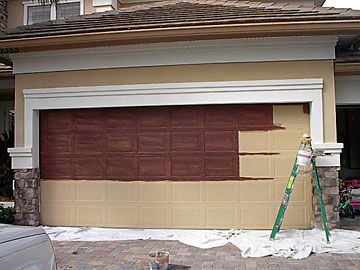 Make metal garage door look like wood outdoor living for Wood looking garage doors