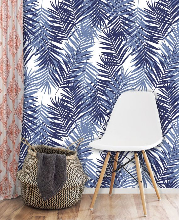 winter palm leaves removable wall covering art self adhesive wallpaper feuilles de palmiers. Black Bedroom Furniture Sets. Home Design Ideas