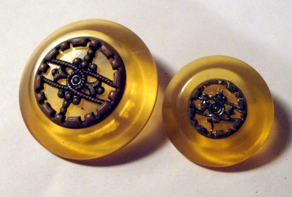 Lot 2 BAKELITE Vintage Buttons Applejuice Mother Daughter SET w Embell. ~ TESTED