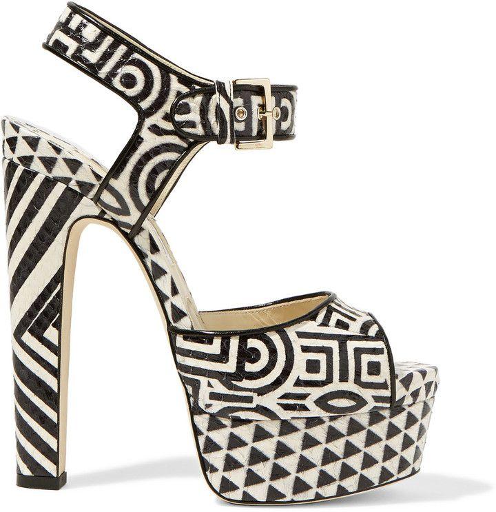 e6f65a82220 Brian Atwood Karin printed elaphe platform sandals