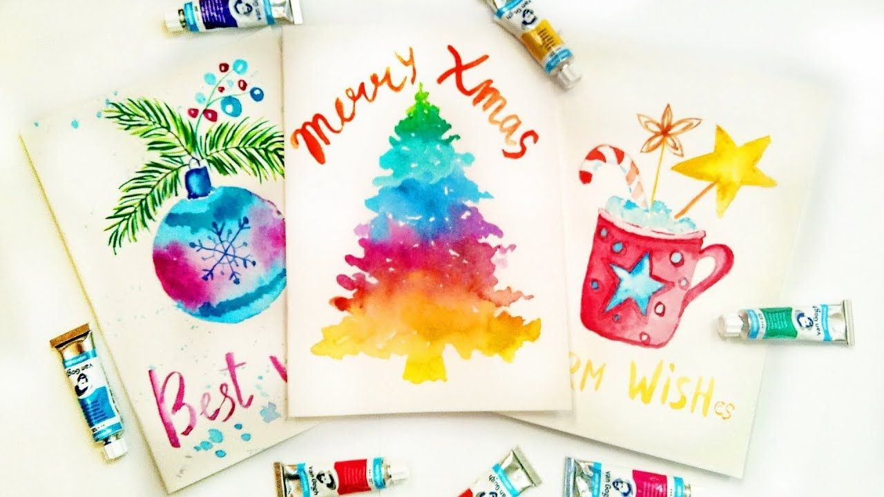 Diy Easy Christmas Cards Tutorial With Watercolors Handmade