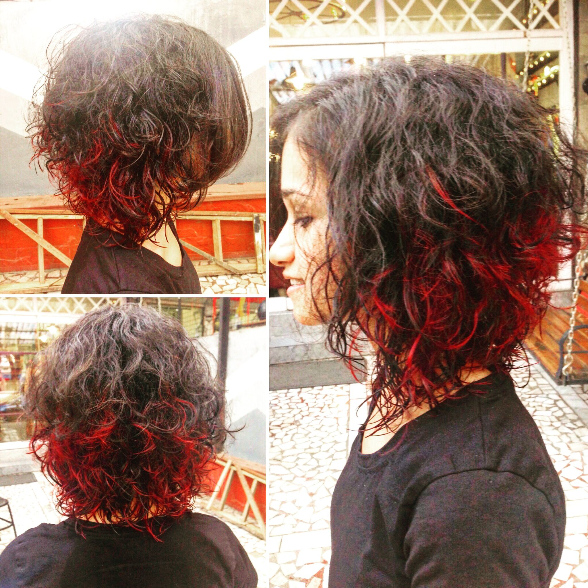 Curly Bob With Red Dip Dyed Ends Dyed Curly Hair Curly Hair Styles Dip Dye Hair