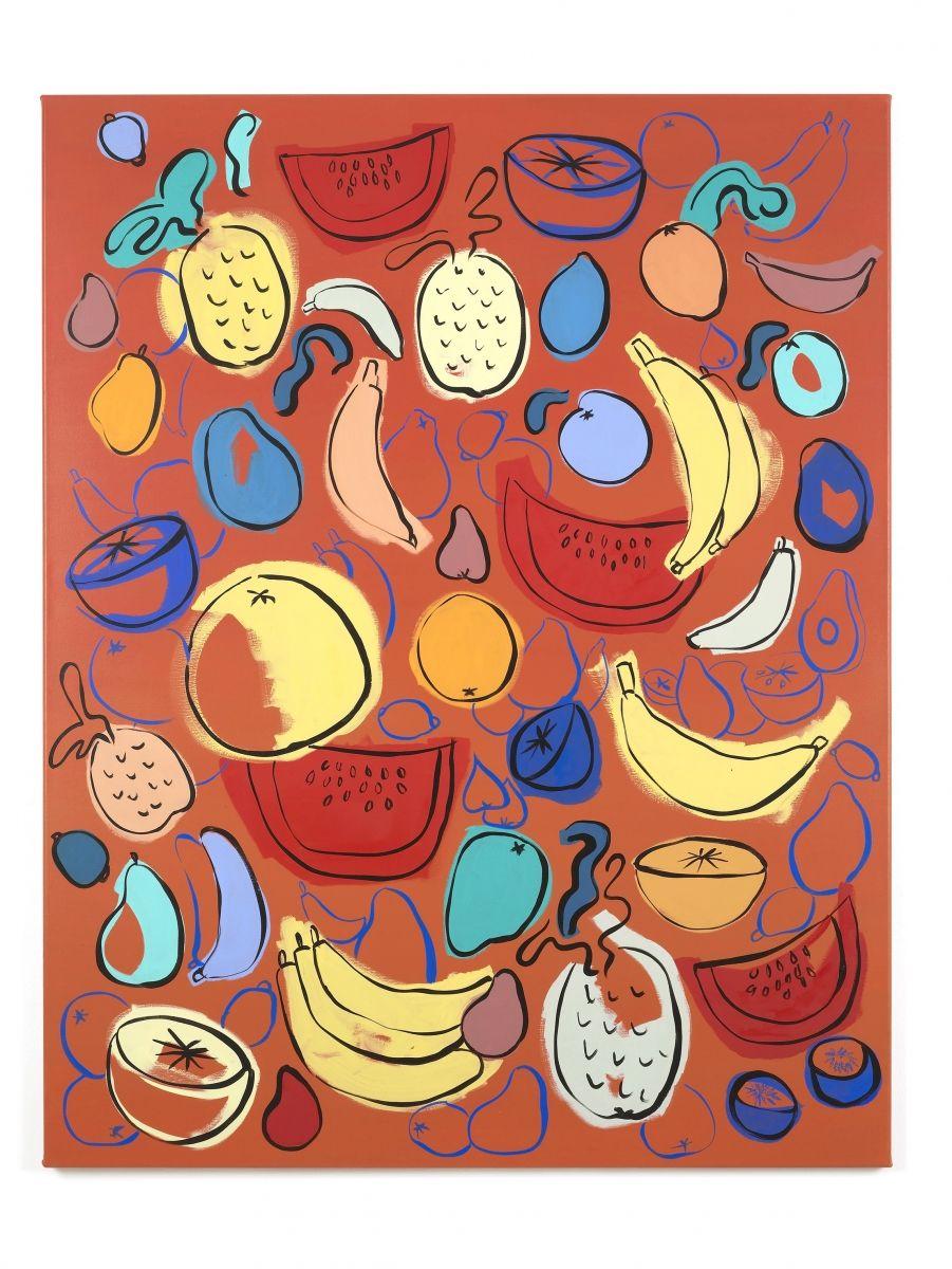 sol calero Untitled (Bienvenidos a Nuevo Estilo), 2014 [oil on canvas; 130 x 102 x 2cm]