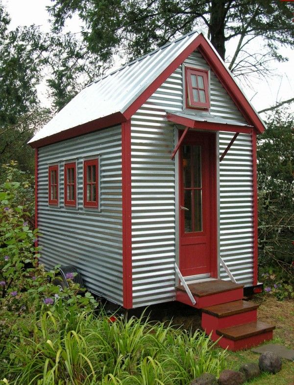 Corrugated Metal Tiny House With Red Trim At 65 Sq Ft