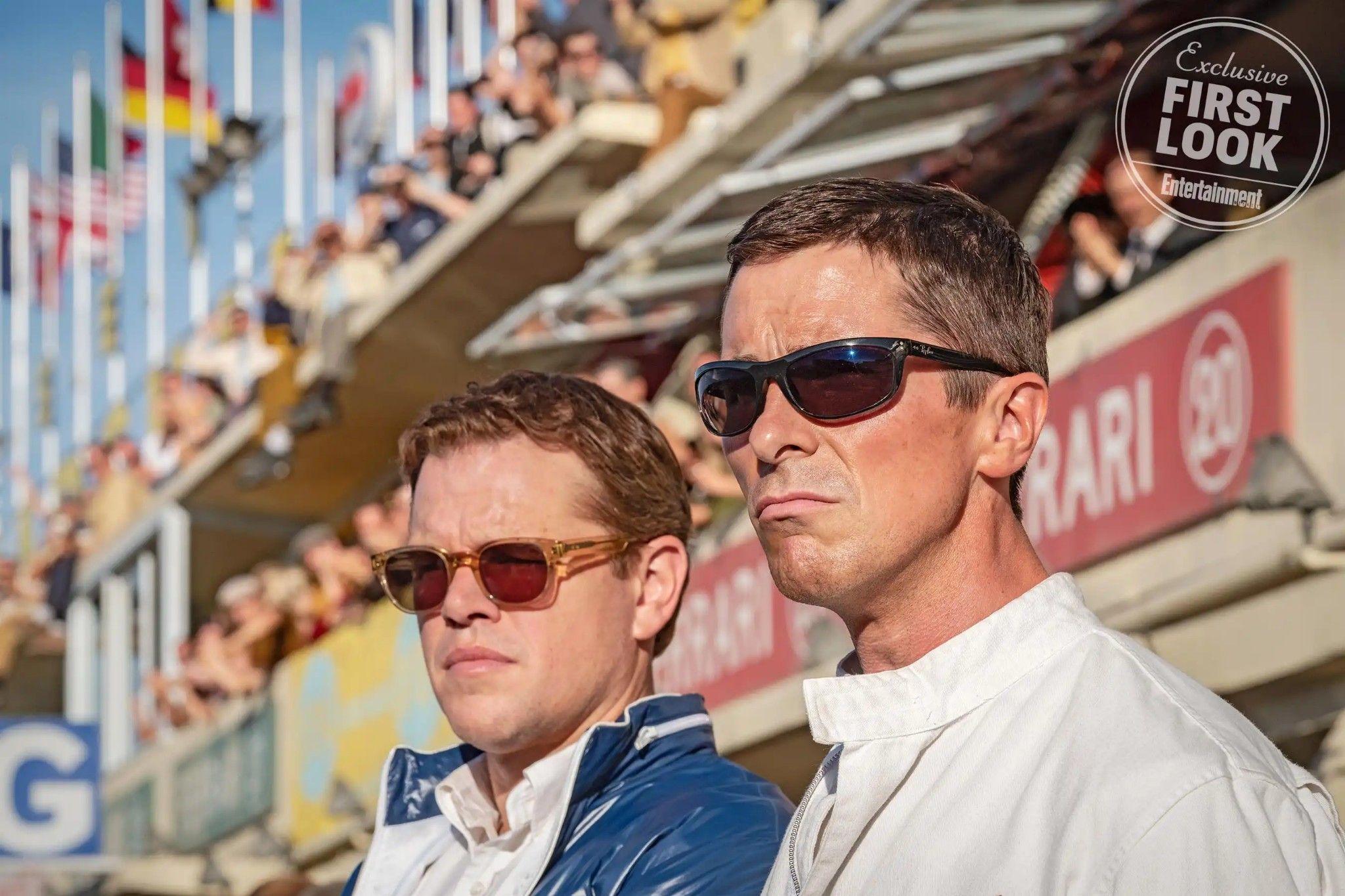 Elton John And Liam Gallagher Of Ford Vs Ferrari Christian Bale