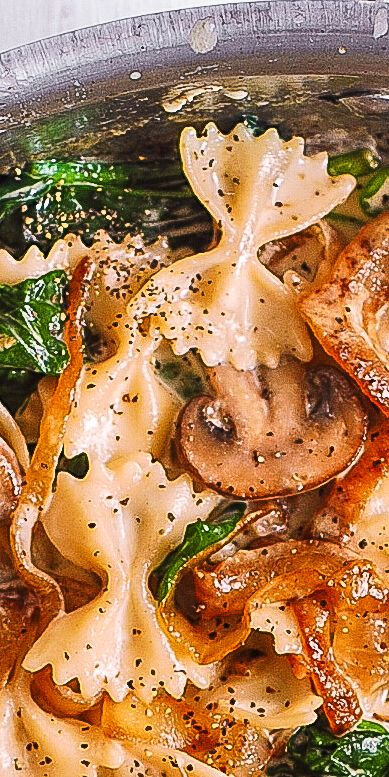 Bow Tie Pasta with Spinach, Mushrooms and Carameli