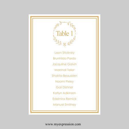 Wedding Seating Chart Template 5x7- Elegant Wreath (Gold - seating chart templates