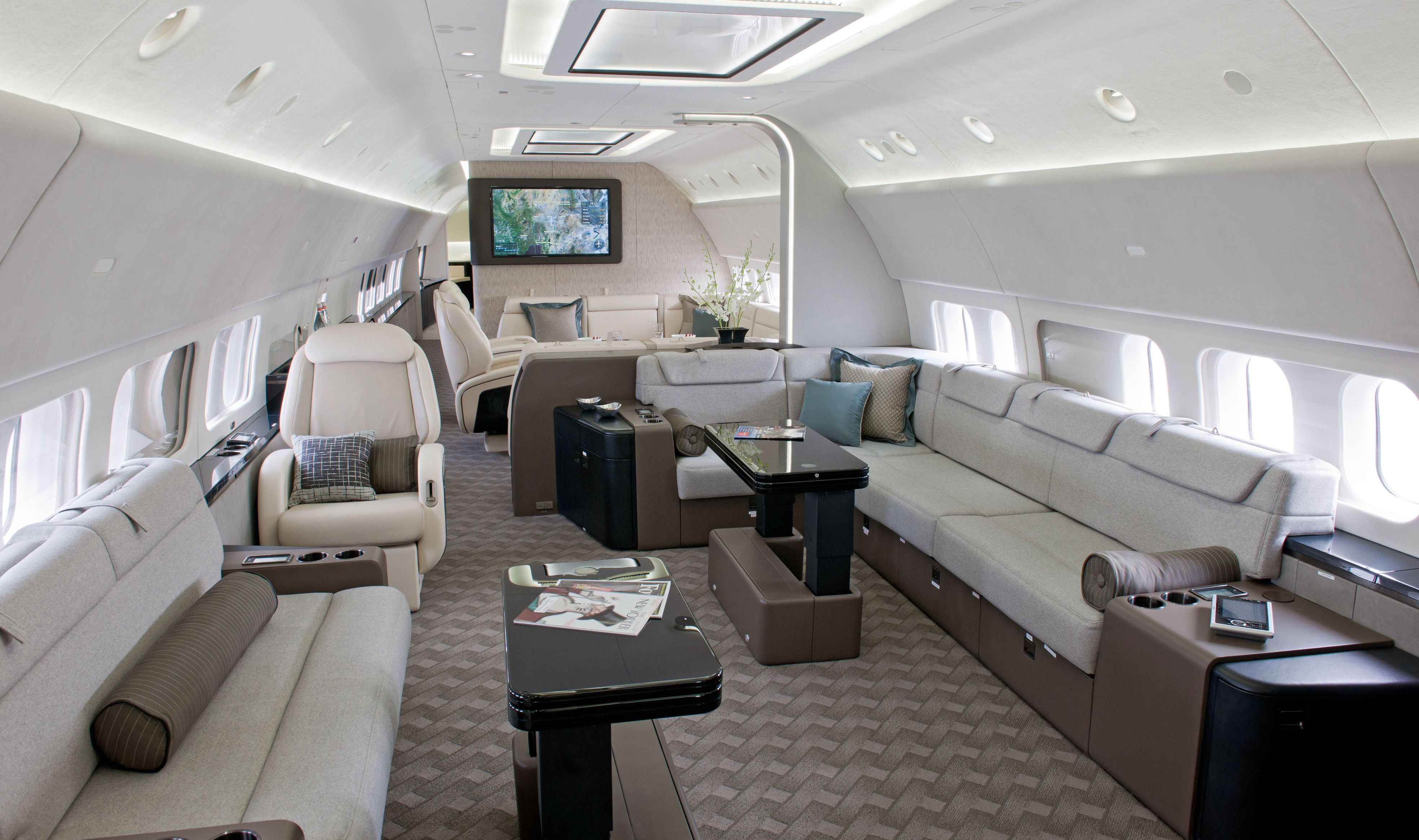Private jet interior furnished like a vintage train aviation - Airplanes