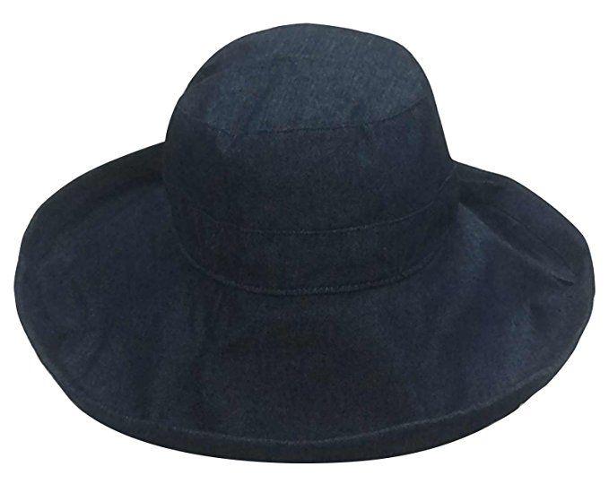 ee19ca44 Simplicity Summer Solid Cotton Bucket Hat with Big Fold-Up Brim, Denim at  Amazon