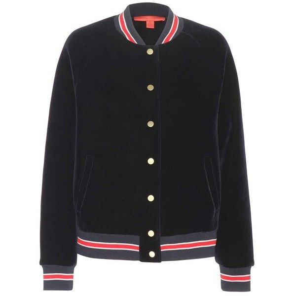 Tommy Hilfiger Varsity Velvet Bomber Jacket ($456) ❤ liked on Polyvore featuring outerwear, jackets, tops, tommy hilfiger, blue, bomber style jacket, blue bomber jacket, flight jacket, tommy hilfiger jacket and blue velvet jacket
