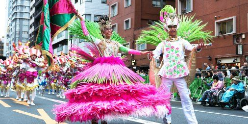 Enjoy Tokyo's 35th annual Samba Festival! Beautiful dancers fill the streets with color in an exciting competition! Tokyo Metropolitan Government, August 2016