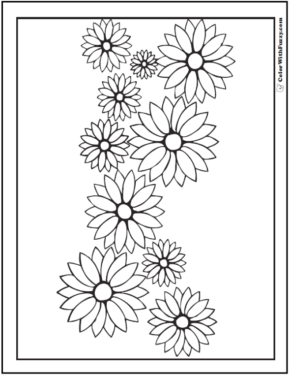 Daisy Coloring Pages 15 Customizable Pdfs Flower Coloring Pages Rose Coloring Pages Coloring Pages