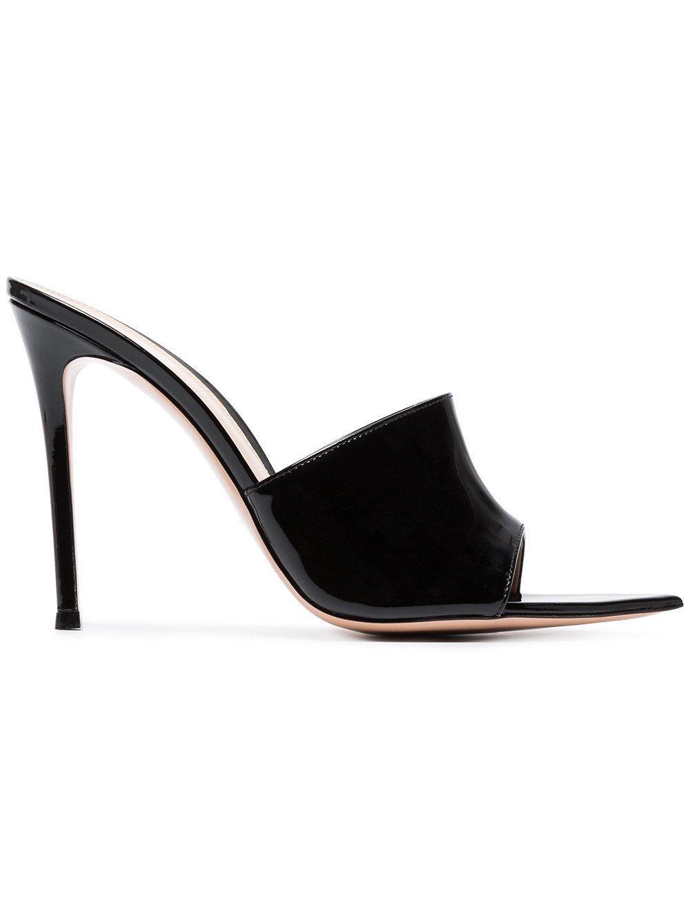 2c4d1b2bb7b03 GIANVITO ROSSI BLACK 105 PATENT LEATHER OPEN TOE MULES.  gianvitorossi   shoes