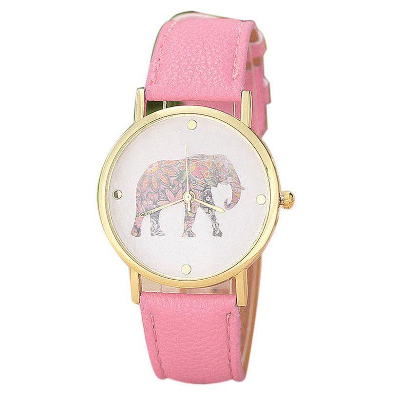 Fabulous new Fashion Women Elephant Printing Pattern Weaved Leather Quartz Dial Watch wristwatch