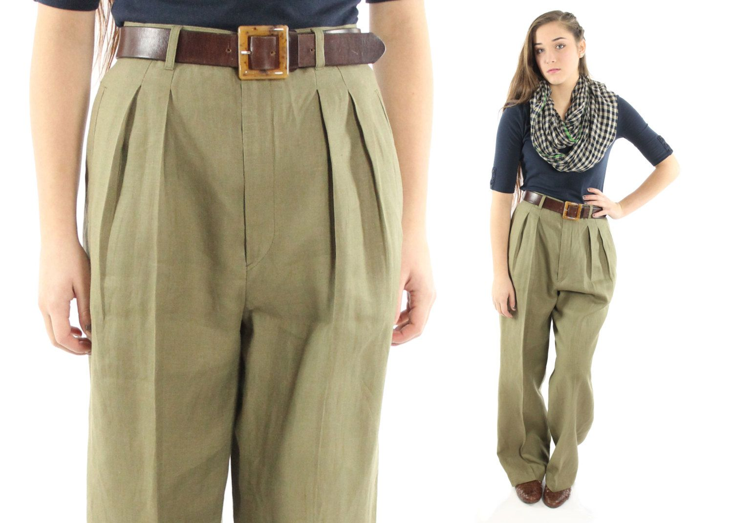 52b20f8de1ee Vintage 80s High Waisted Trousers Pleated Pants Mens Style Trousers ...