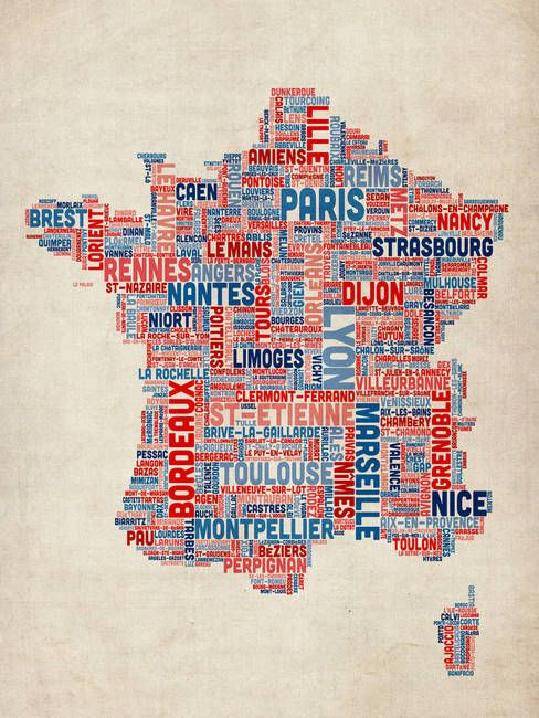 City Map Of France.Typography Text Map Of France Map By Michael Tompsett France
