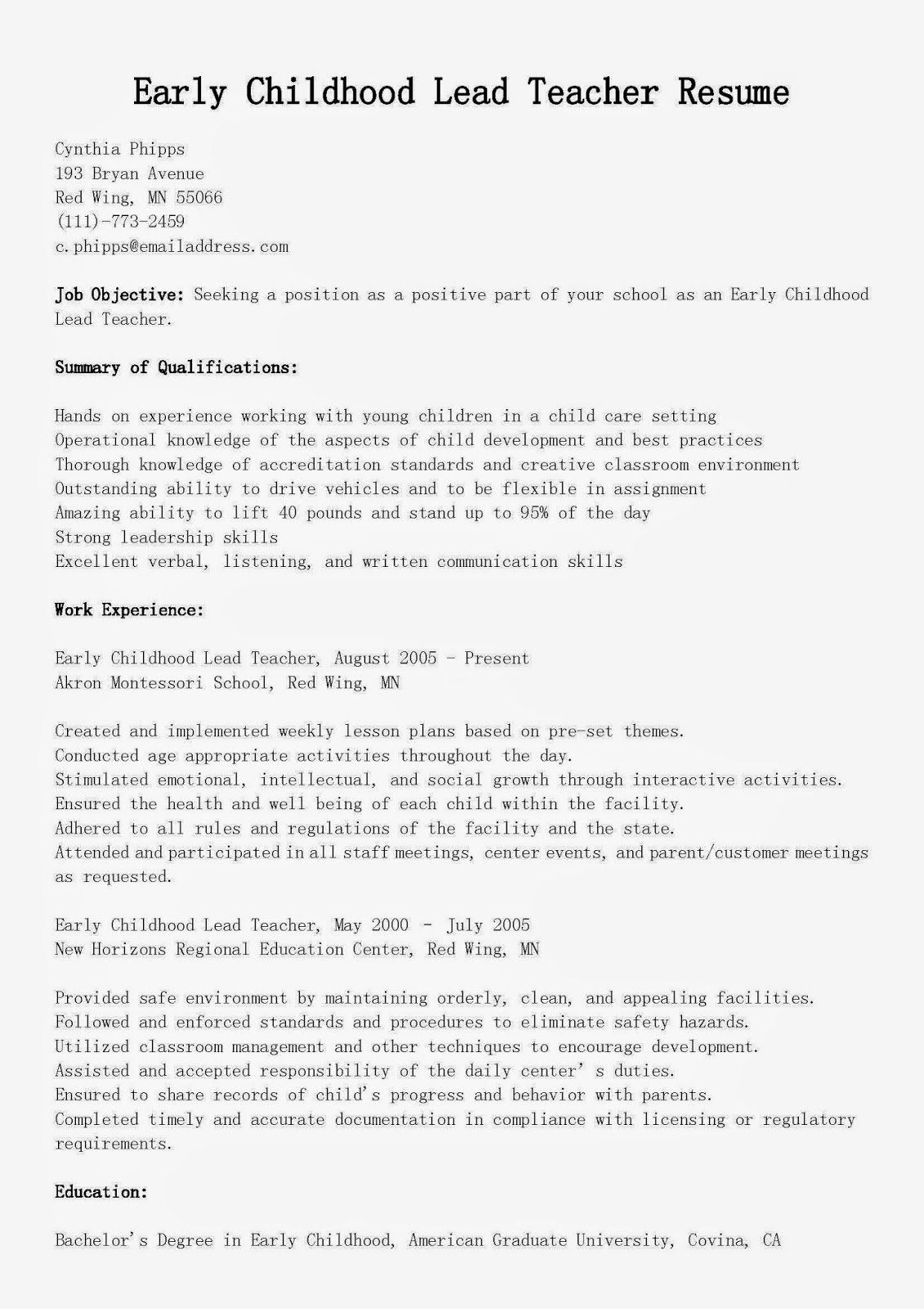 23 Preschool Teacher Resume Examples in 2020 Teacher