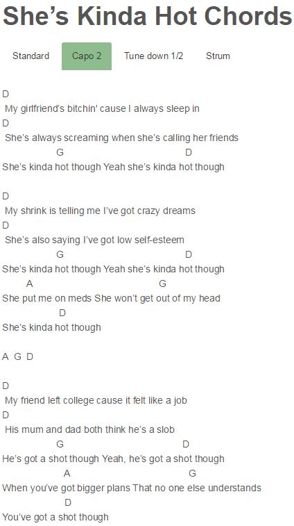 5 Seconds Of Summer  She s Kinda Hot   EP  Sounds Good Feels Good She s  Kinda Hot Chords Lyrics for Guitar Ukulele Piano Keyboard with Strumming  Pattern on. She s Kinda Hot Chords 5 Seconds Of Summer   5 Seconds Of Summer