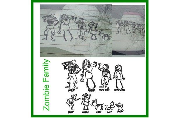 GroopDealz Zombie Family Vinyl Car Decal (they have nine other cute styles if you aren't into zombies)