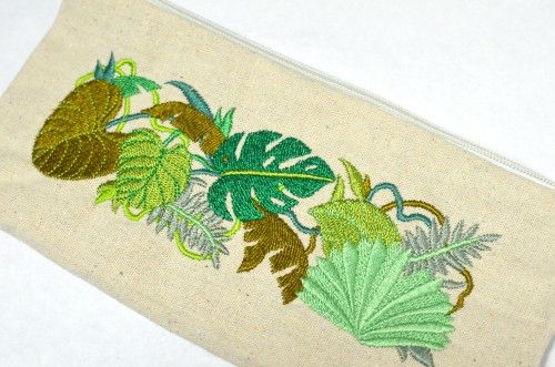 Jungle Foliage Pencil Pouch Embroidered with Tropical Green Leaves