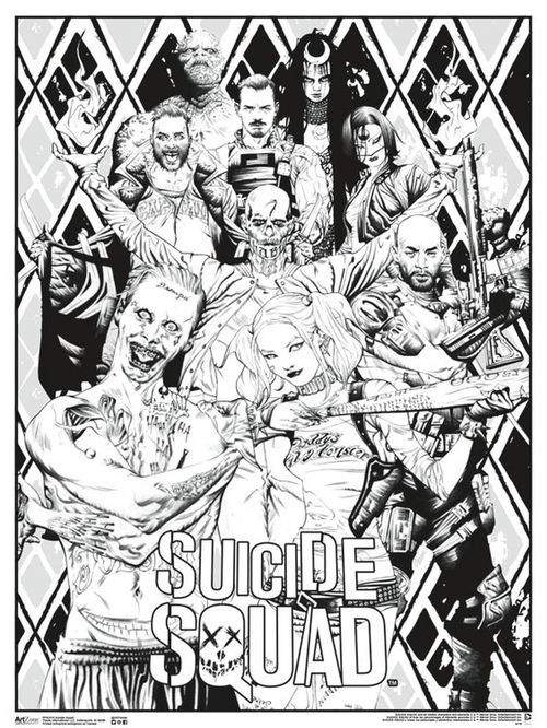 Free Suicide Squad Movie Poster Coloring Pages For Adults Printable