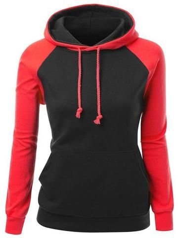 Casual Color Collision Hooded Sweatshirt - WealFeel