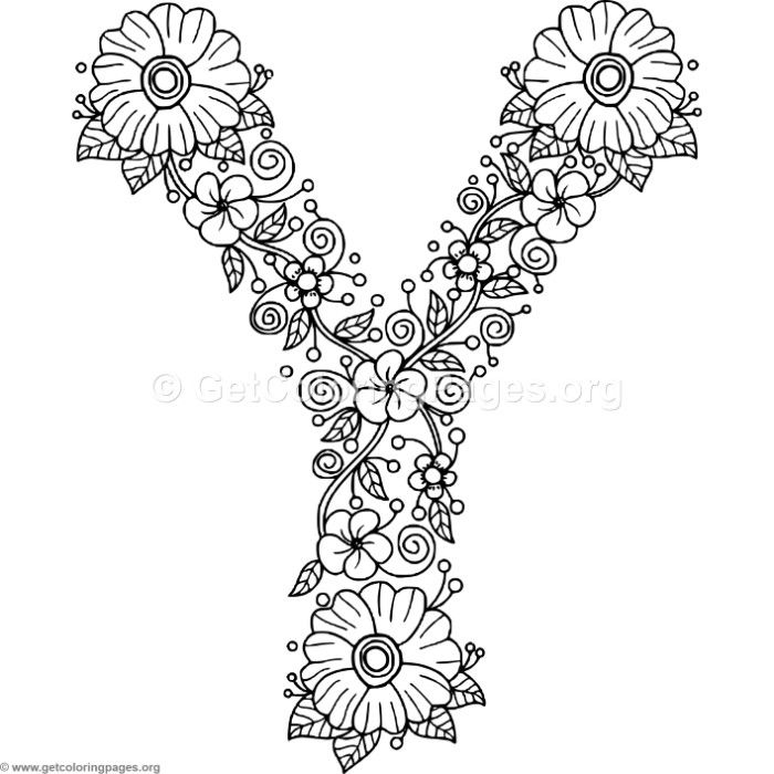 Letter Y Coloring Pages: Free Download Floral Alphabet Letter Y Coloring Pages