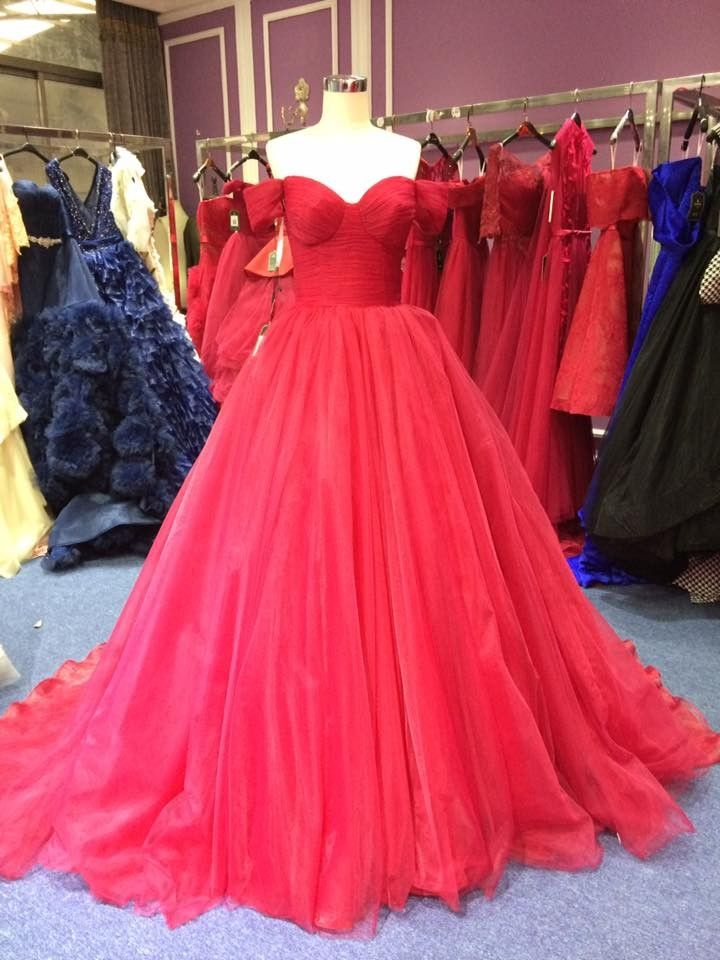 Ball Gown Off Shoulder Sleeves Wine Red Prom Dress | Princess ...