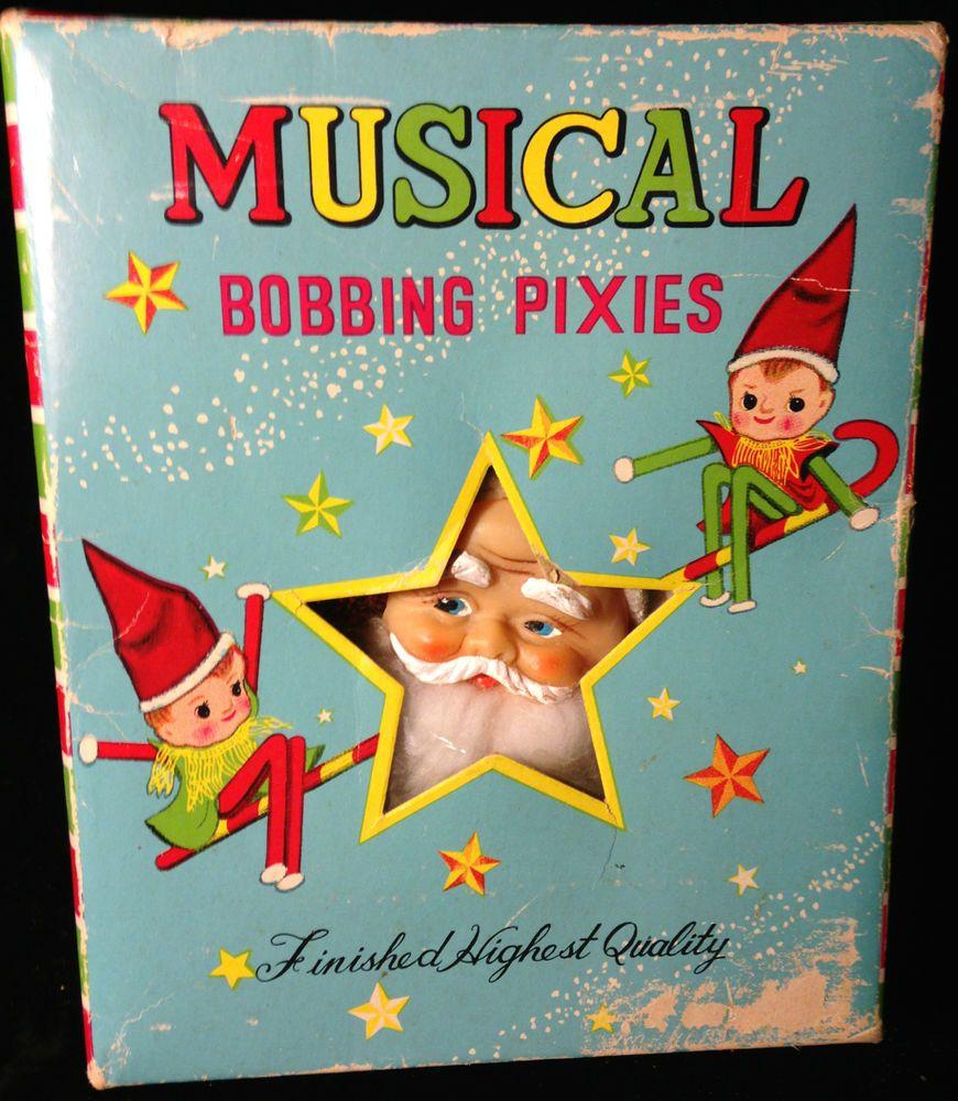 Vintage 50s 60s Christmas Bobbing Pixie Elf Rubber Santa Claus Box Decoration