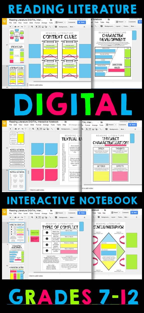 digital google drive interactive notebook reading literature 6 12