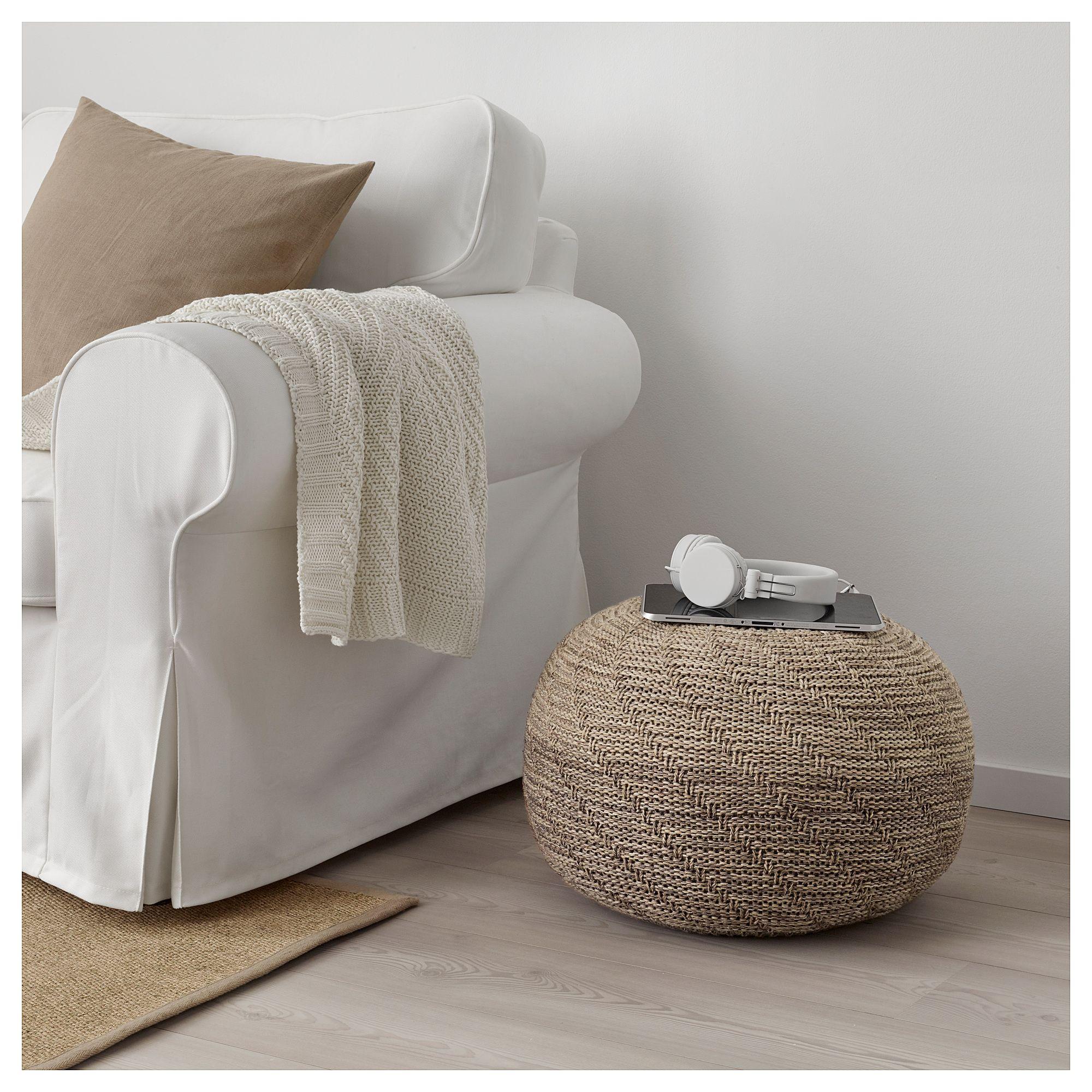 Sandared Pouffe Beige Ikea Fabric Ottoman Bean Bag Chair