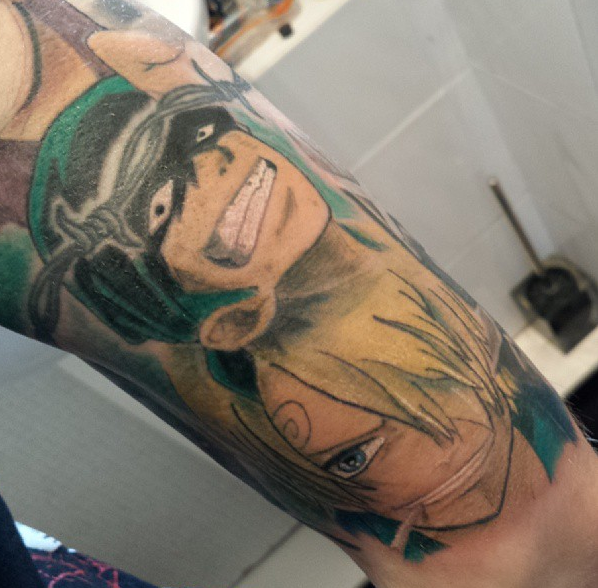 one piece tattoos | One Piece Tattoo, coloured by Dexscott ...