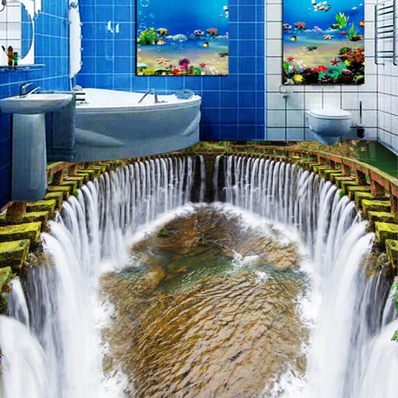 Custom Mural Wallpaper Stereo Waterfall Living Room Bedroom Bathroom 3d Floor Murals Pvc Self Adhesive Waterproo Floor Wallpaper Floor Murals Bathroom Flooring