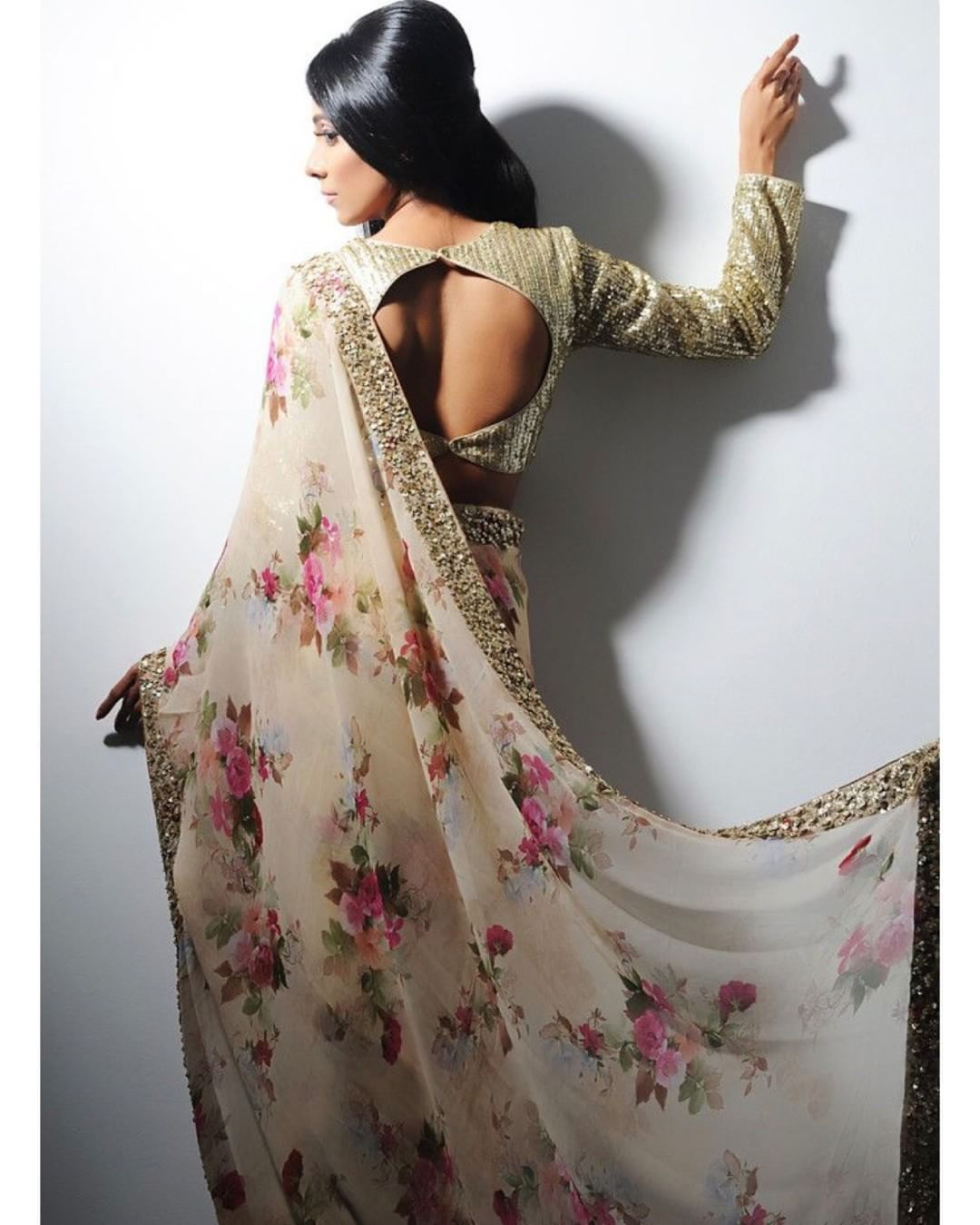 a7cdcd27c526b Georgette floral Saree with sequin border and gold sequin blouse To purchase  mail us at houseof2 live.com or Whatsapp us on +919833411702…
