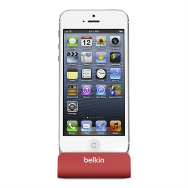 Charge + Sync Dock for iPhone 5/5c/5s/6 - Red -  FrontViewImage