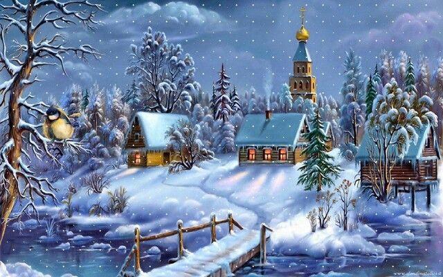 Foto Con La Neve Di Natale.Paesaggio Con Neve Immagini Di Natale Biglietti Di Natale Vintage Buon Natale