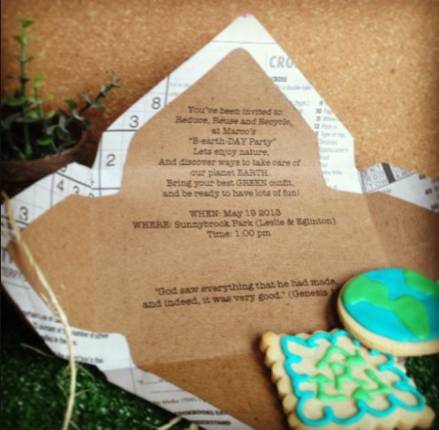 Earth Day Birthday Party Invitation and Cookies - #kidsparty #partyidea