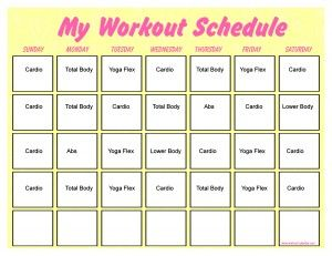Minute Trainer Calendar  Printable    Minute Workout