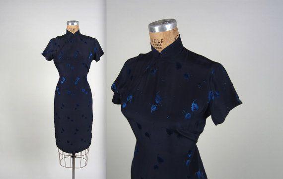 1950s brocade cheongsam dress  vintage 50s by MintageClothingCo