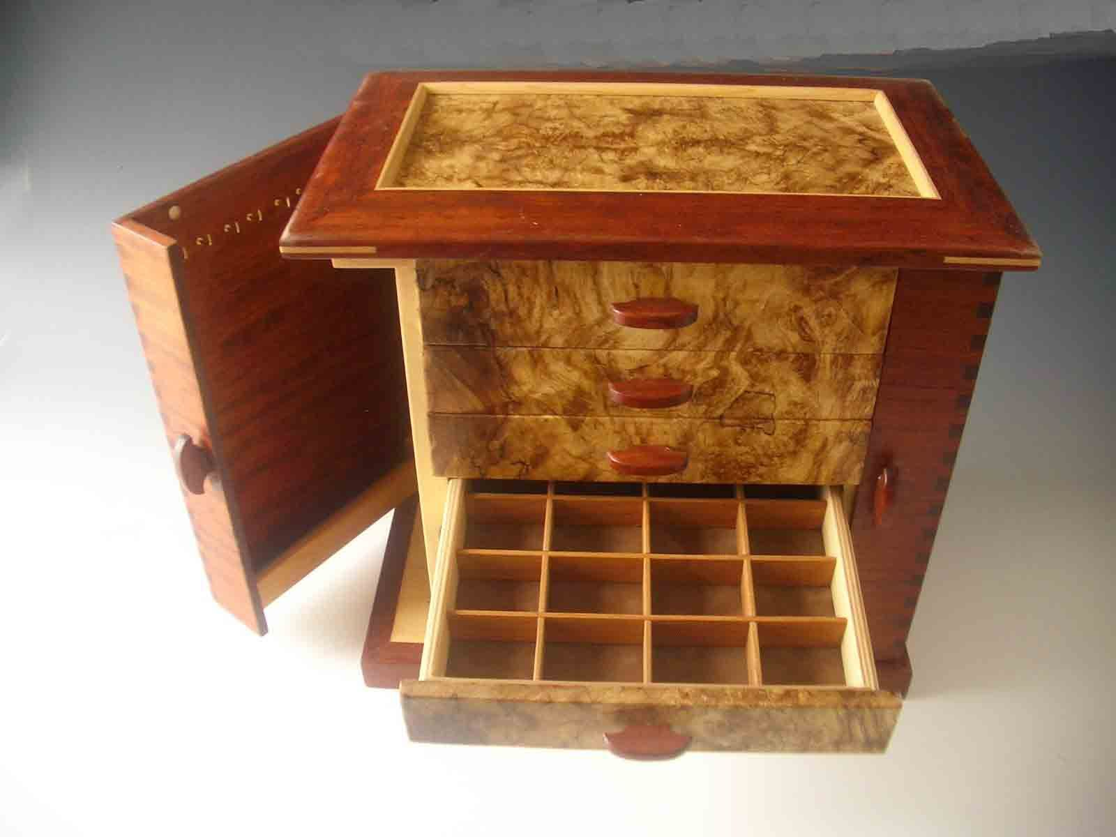 2805accb0 Handcrafted necklace holders jewelry box made of exotic wood with two doors  that swing open to hold necklaces, and six drawers; one door and one drawer  are ...