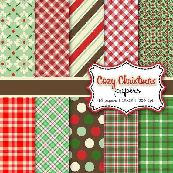Cozy Christmas holiday digital paper set by hellolovetoo on Etsy, $4.00