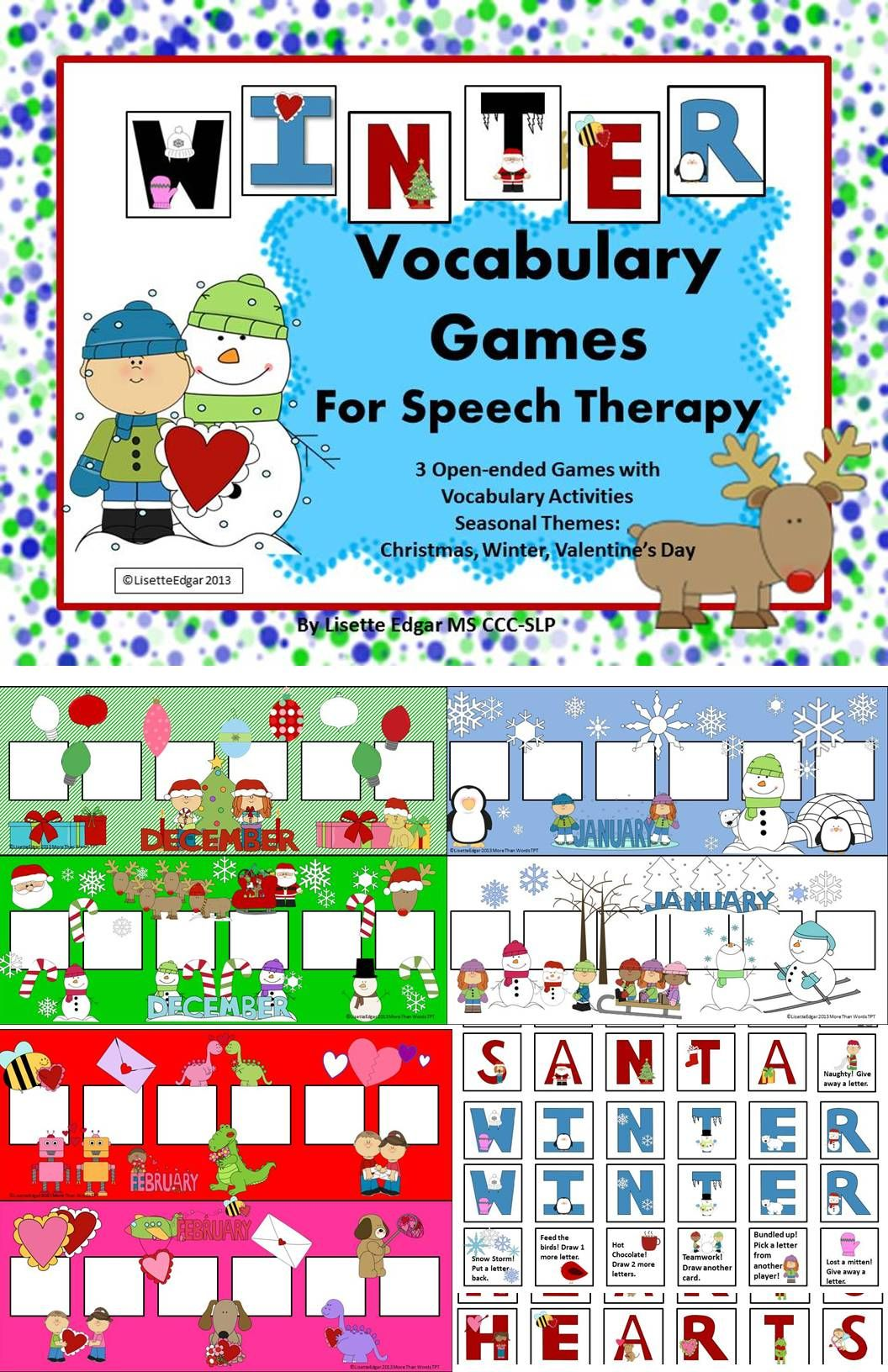Winter Speech Therapy Vocabulary Games Christmas Winter Amp Valentine S Day