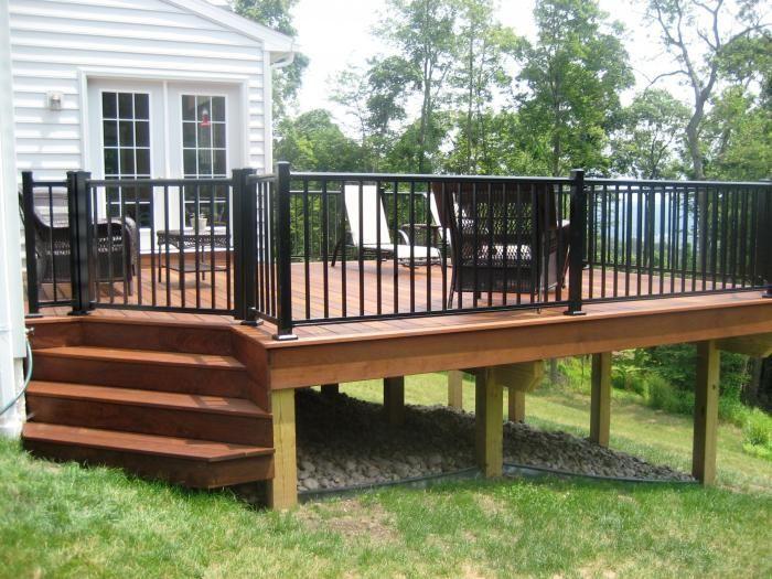 black deck railing | Deck with all black aluminum railing | Pools in