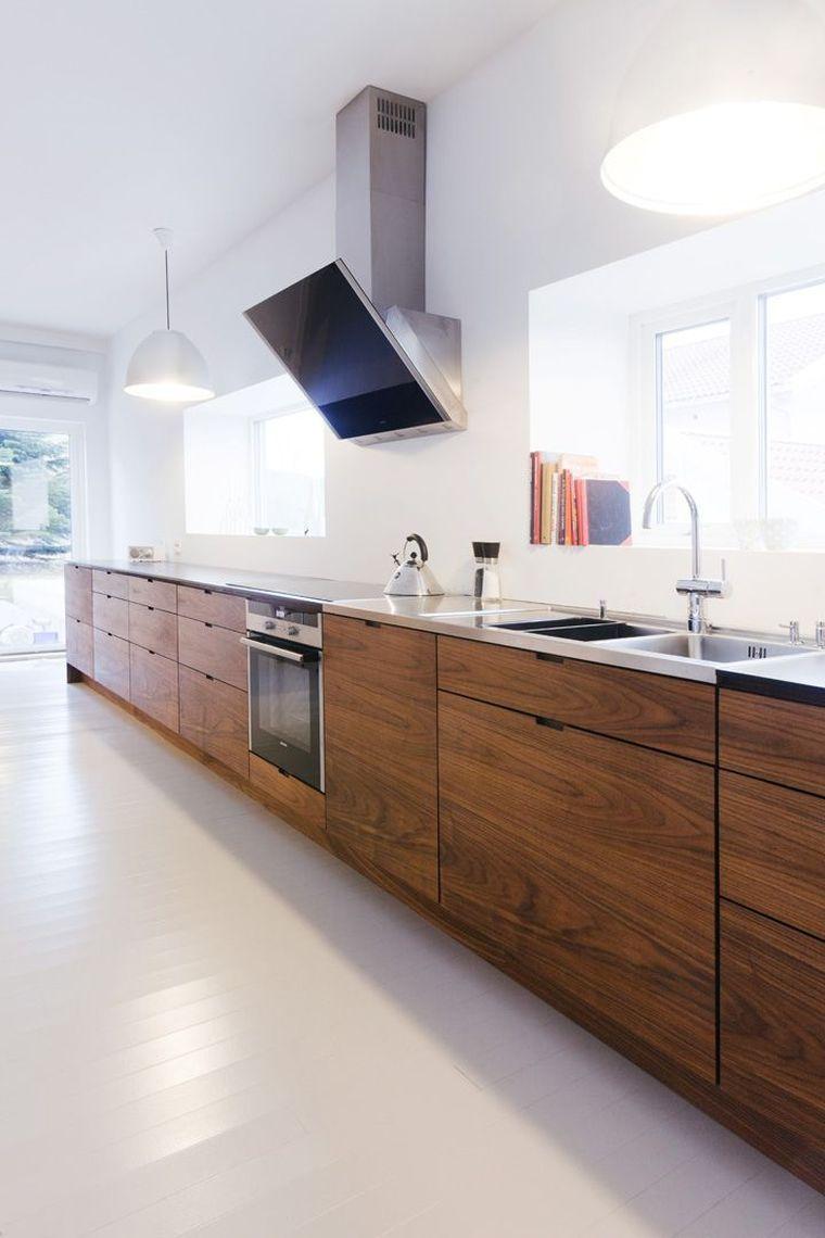 Cuisine En Bois Brut Et Decoration Moderne Avec Facade Naturelle Kuchendesign Modern