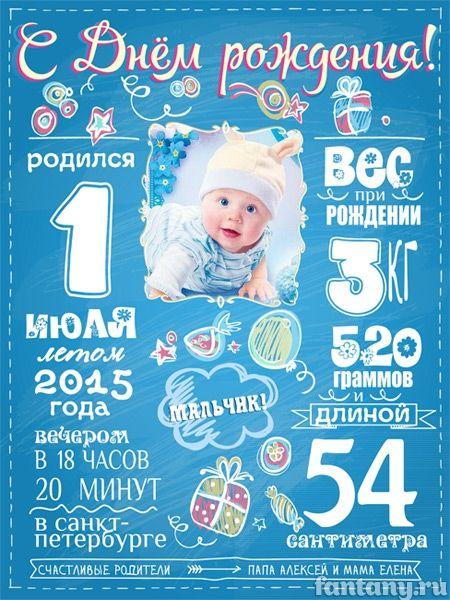 Метрика для новорожденных постер своими руками фото 994