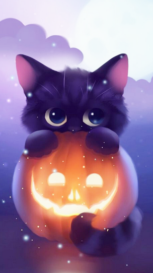 Dessin Chat Cat Chaton Mignon Kitten Halloween Citrouille Peur Fear Nuit Night Noir Cute Animal Drawings Cute Drawings Anime Animals