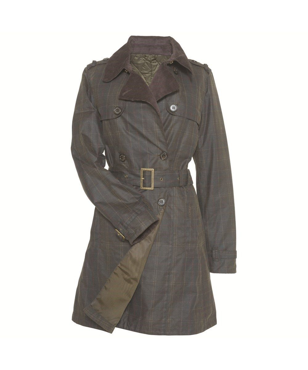 Womens Barbour Chatsworth Waxed Tartan Trench Coat - Classic/Olive