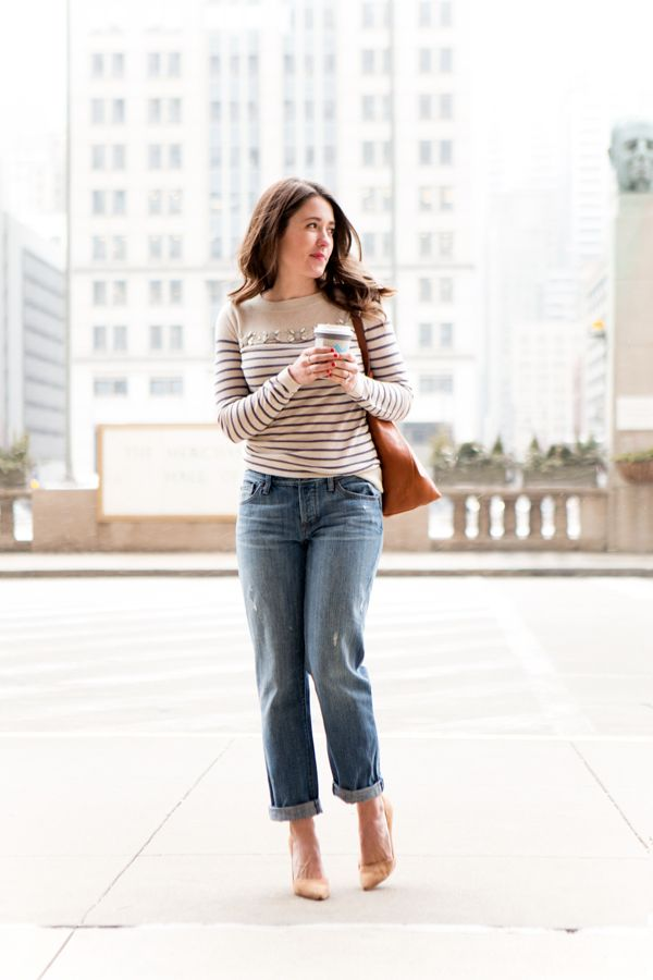 A cozy pair of boyfriend jeans and a classic stripped top