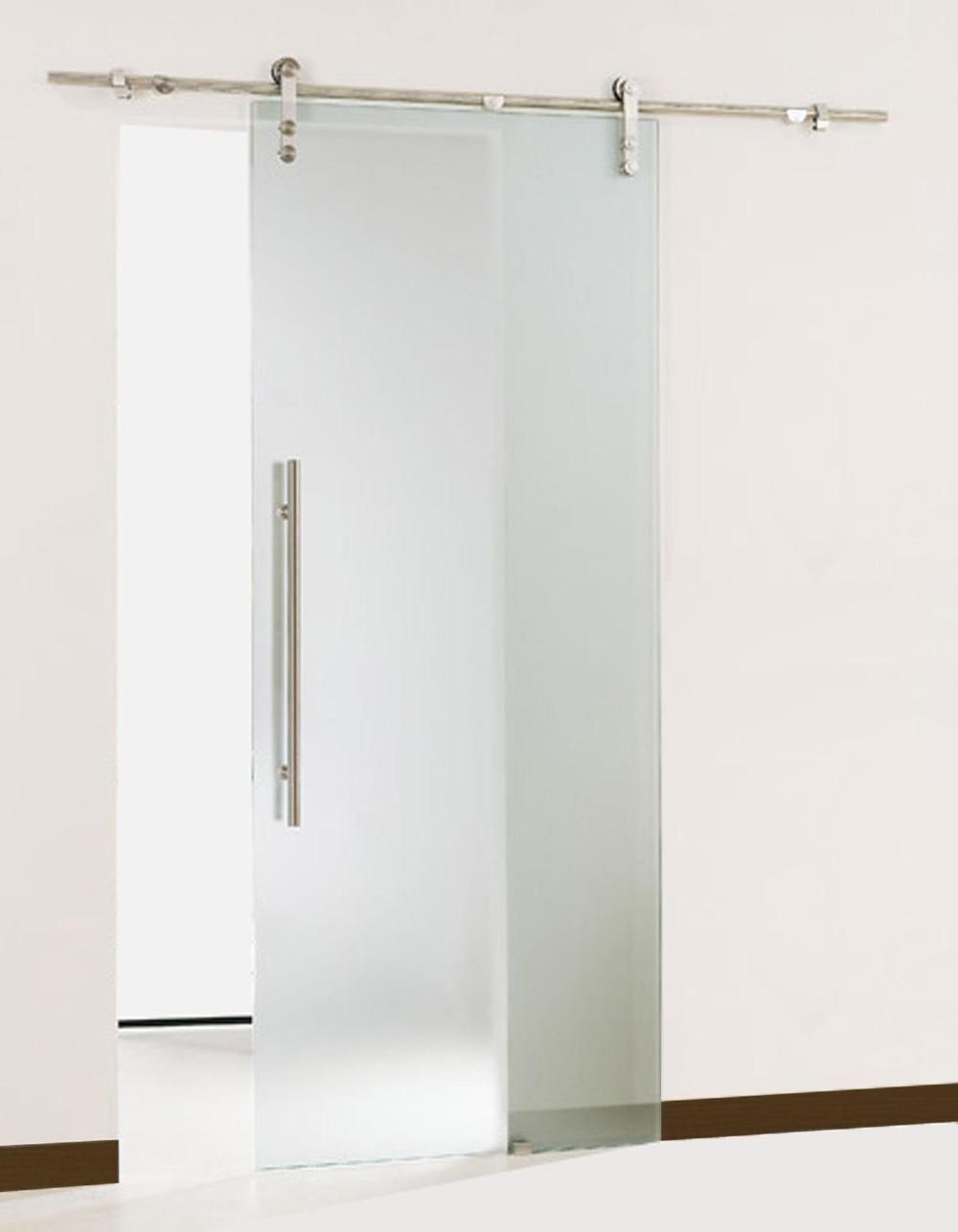 Single Pocket Doors Glass free shipping-gsd01 modern sliding glass barn door stainless steel